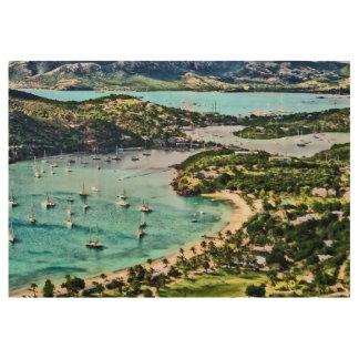 アンチグアの眺めのFalmouth港 ウッドポスター