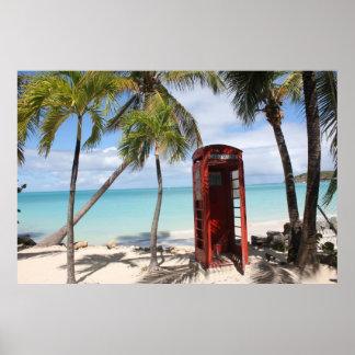 アンチグアの赤い公衆電話ブース ポスター