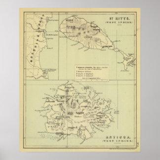 アンチグアは地図を石版刷にしました ポスター