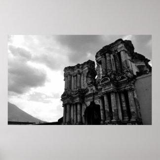 アンチグアグアテマラの白黒台なし ポスター