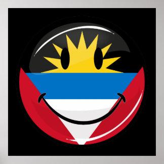 アンチグアバーブーダの光沢のある円形の微笑の旗 ポスター