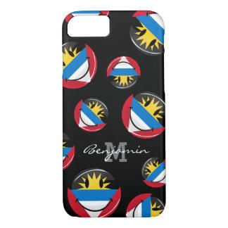 アンチグアバーブーダの光沢のある円形の微笑の旗 iPhone 8/7ケース