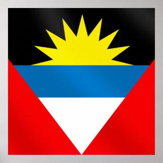 アンチグアバーブーダカリブの旗 ポスター