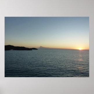 アンチグアIIの海景の写真撮影の日没 ポスター