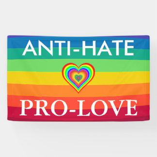 アンチ憎悪親愛抗議LGBTの虹の旗 横断幕