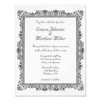 アンティークによって縁どられる結婚式招待状 カード
