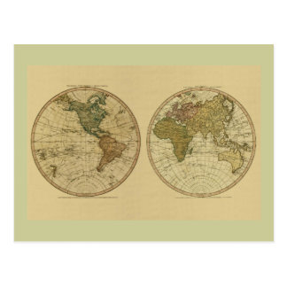 アンティークのウィリアムFaden著1786年の世界地図 はがき