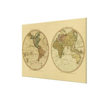 アンティークのウィリアムFaden著1786年の世界地図 キャンバスプリント