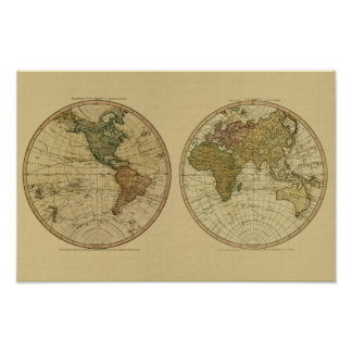 アンティークのウィリアムFaden著1786年の世界地図 ポスター
