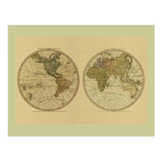 アンティークのウィリアムFaden著1786年の世界地図 ポストカード