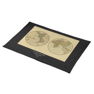 アンティークのウィリアムFaden著1786年の世界地図 ランチョンマット