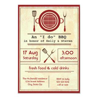 """アンティークの紙""""私は"""" BBQのパーティ- 3x5招待状 カード"""