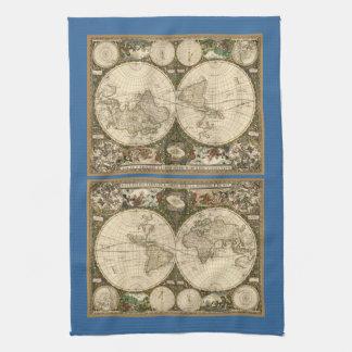アンティークのFrederick de Wit著1660年の世界地図 キッチンタオル