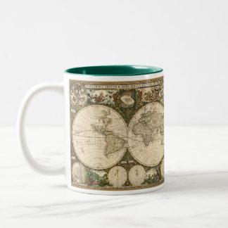 アンティークのFrederick de Wit著1660年の世界地図 ツートーンマグカップ