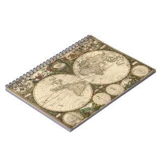 アンティークのFrederick de Wit著1660年の世界地図 ノートブック