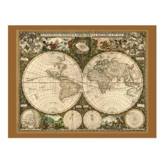 アンティークのFrederick de Wit著1660年の世界地図 ポストカード
