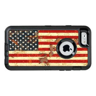 アンティークは米国旗米国錆つきました オッターボックスディフェンダーiPhoneケース