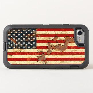 アンティークは米国旗米国錆つきました オッターボックスディフェンダーiPhone 8/7 ケース