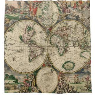 アンティークは|の旧世界のヴィンテージの地図の地図を描きます シャワーカーテン