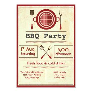 アンティークペーパーBBQのパーティの招待状 カード