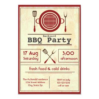 アンティークペーパーBBQのパーティ- 3x5招待状 カード