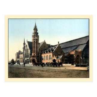 アンティーク1890のカラー写真のブリュージュの駅 ポストカード