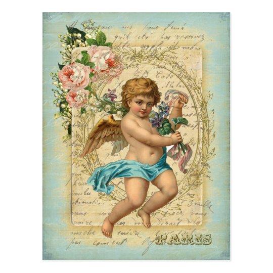アンティーク・ポストカード-天使の贈り物、セージグリーン・ブルー ポストカード