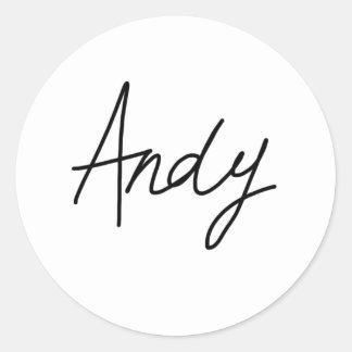 アンディーの署名のステッカー ラウンドシール