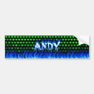 アンディーの青い火および炎のバンパーステッカーは設計します バンパーステッカー