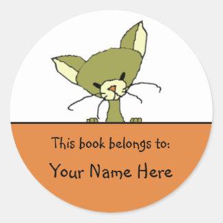 アンディー猫の本のステッカー ラウンドシール
