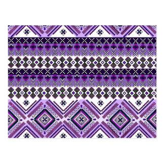 アンデス紫色のアステカな種族パターン ポストカード