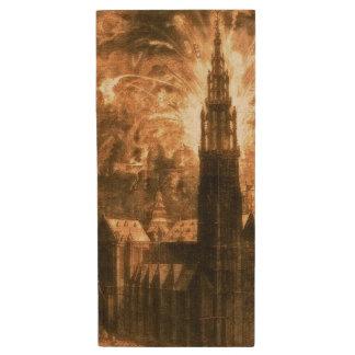 アントワープのカテドラルの花火1642年 ウッドUSBフラッシュドライブ