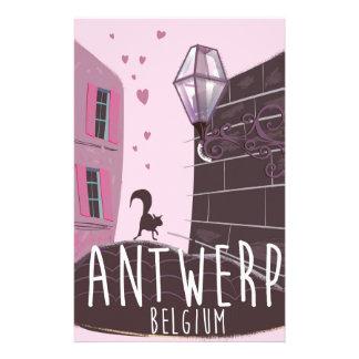 アントワープ、ベルギー旅行ポスター 便箋