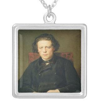 アントンRubinstein 1870年のポートレート シルバープレートネックレス