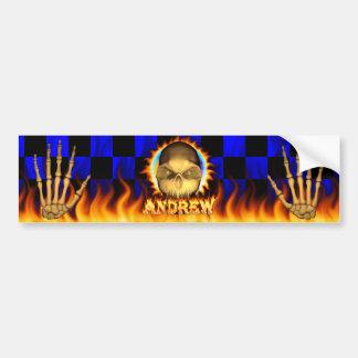 アンドリューのスカルの実質火および炎のバンパーステッカーd バンパーステッカー
