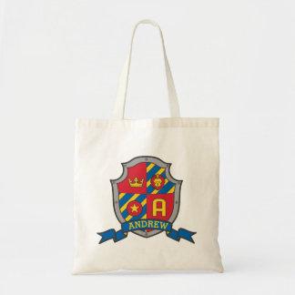 アンドリューの子供の騎士盾の名前入りな図書館のバッグ トートバッグ