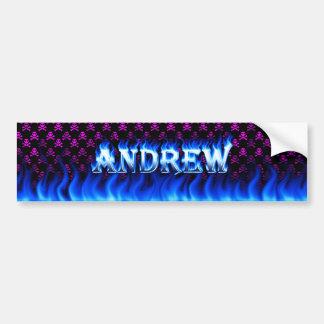 アンドリューの青い火および炎のバンパーステッカーは設計します バンパーステッカー