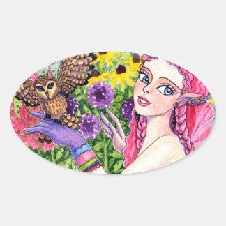 アンハワード著ステッカーのフクロウの花の妖精のファンタジー 楕円形シール