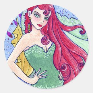 アンハワード著ステッカーの人魚の海の妖精のファンタジー ラウンドシール
