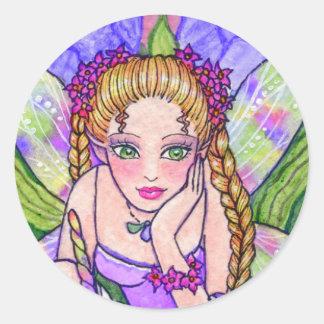 アンハワード著ステッカーの蝶妖精のファンタジー ラウンドシール