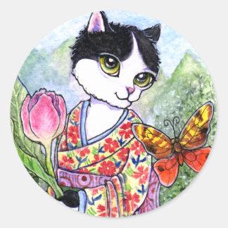 アンハワード著ステッカー猫の芸者の妖精のファンタジー ラウンドシール