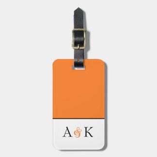 アンパーサンドの優雅: オレンジ新婚旅行の荷物のラベル ラゲッジタグ