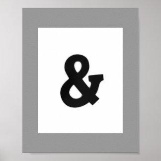 アンパーサンドの白黒はっきりしたな壁の芸術ポスター ポスター