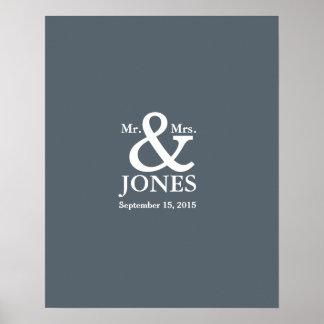 アンパーサンドの結婚式のゲストの署名の本は色を選びます ポスター