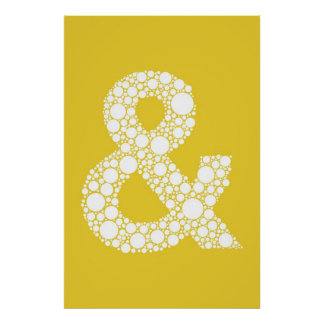 アンパーサンド(および記号)ポスター。 黄色の灰色の文字 ポスター