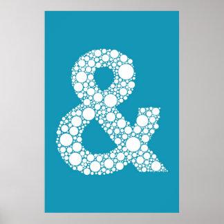 アンパーサンド(および記号)青い泡タイプポスター ポスター