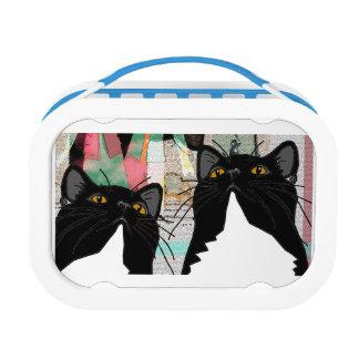 アンリーおよびMimi愛の楽しむな一緒の芸術-猫 ランチボックス