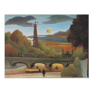 アンリーRous著日没のセーヌ河およびエッフェル塔 ポストカード