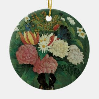 アンリ・ルソーのヴィンテージの花柄著キヅタが付いている花 陶器製丸型オーナメント