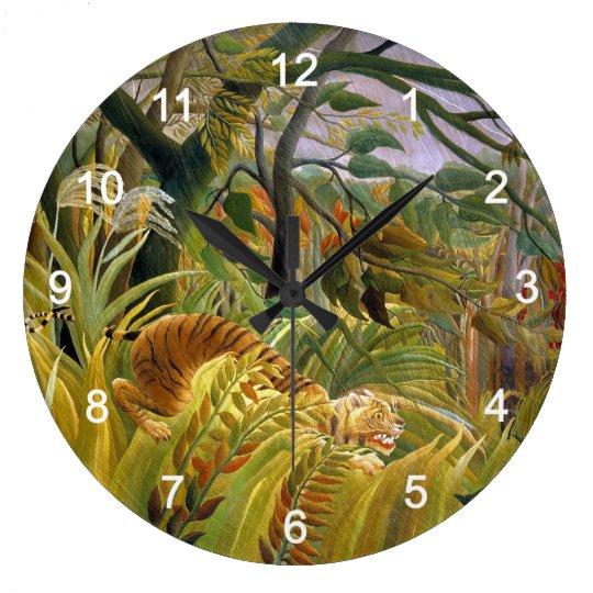 アンリ・ルソーの『 熱帯嵐のなかのトラ 』の壁掛け時計,No.02 ラージ壁時計